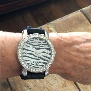 Geneva Platinum black watch with zebra face